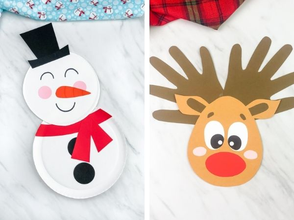 paper plate snowman and handprint reindeer craft