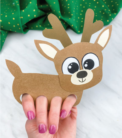 finger puppet reindeer craft with fingers
