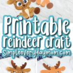 printable reindeer craft image collage with the words printable reindeer craft in the middle