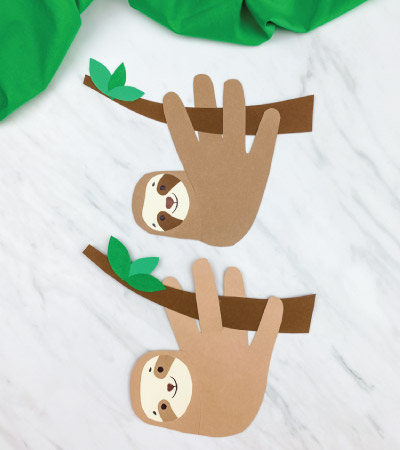 two handprint sloth crafts