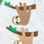 dark brown and light brown handprint sloth craft
