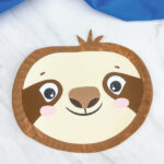 closeup of paper plate sloth craft