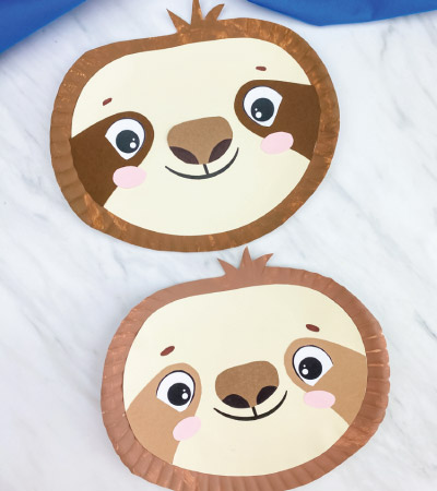 two paper plate sloth crafts