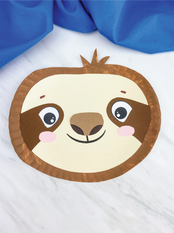 dark brown paper plate sloth craft