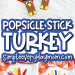popsicle stick turkey craft image collage with the words popsicle stick turkey in the middle