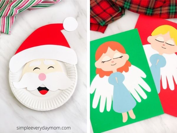 paper plate santa craft and handprint angel craft