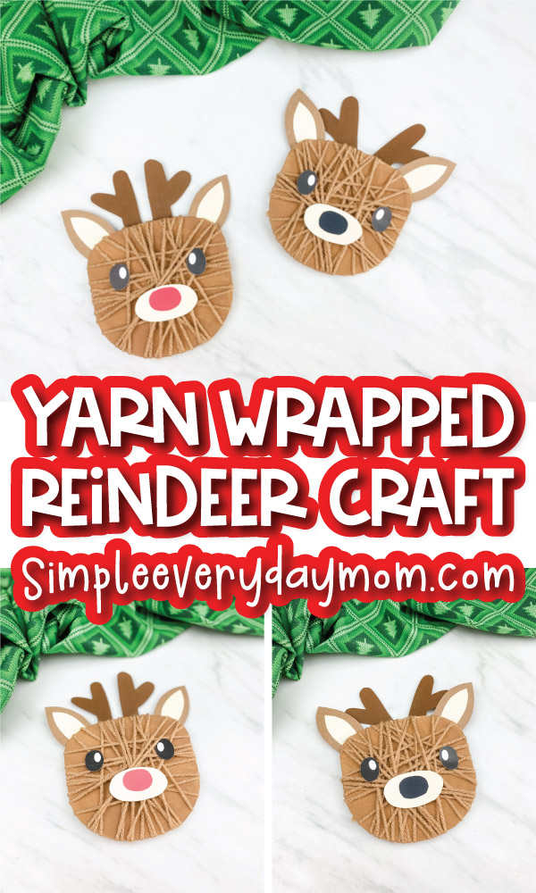 yarn wrapped reindeer craft image collage with the words yarn wrapped reindeer craft in the middle