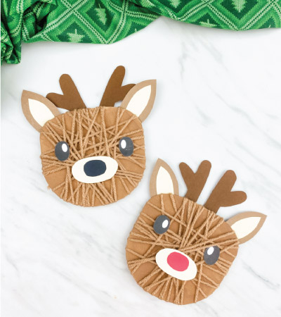 two yarn wrapped reindeer crafts
