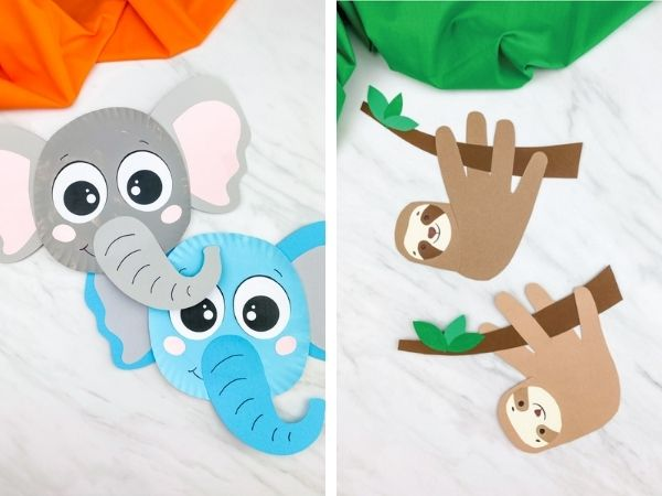 paper plate elephant craft and handprint sloth craft