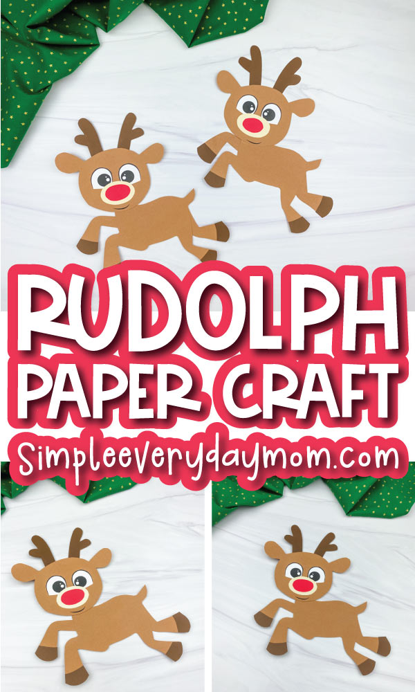 rudolph paper craft image collage with the words rudolph paper craft in the middle