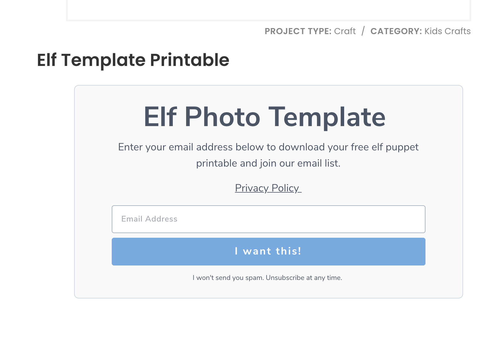 elf photo template form