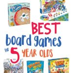 board game image collage with the words best board games for 5 year olds in the middle