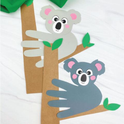 light gray and dark gray handprint koala craft