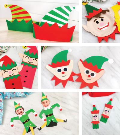 elf crafts for kids image collage