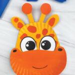 yellow and orange paper plate giraffe craft