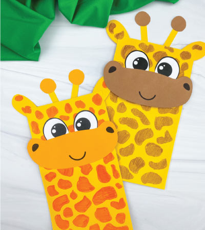 two paper bag giraffe crafts