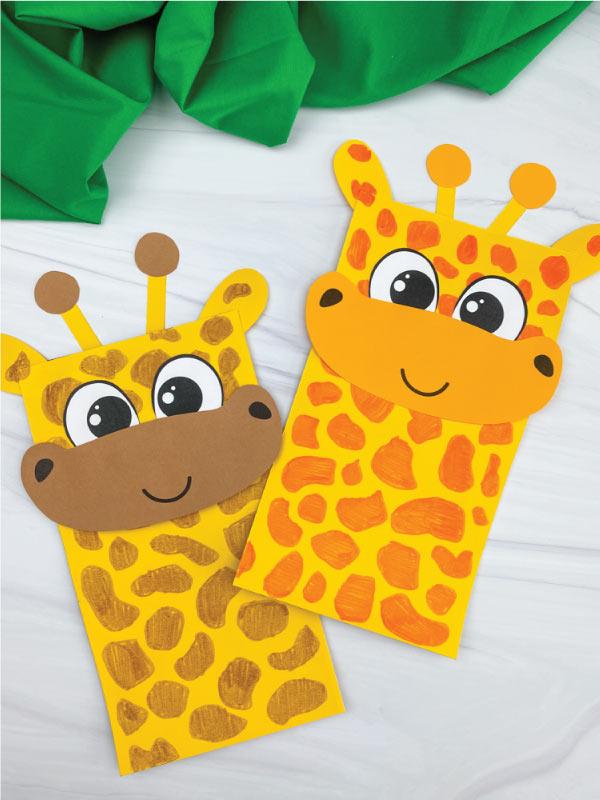 two paper bag giraffe crafts