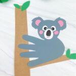 closeup of dark gray handprint koala craft