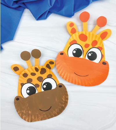 two paper plate giraffe crafts