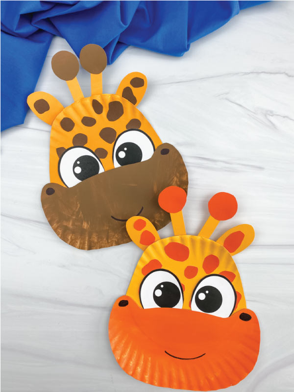 two paper plate giraffe crafts