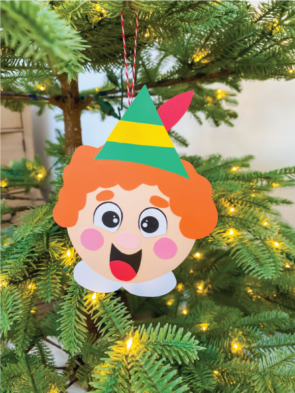 buddy the elf ornament paper craft hanging on christmas tree