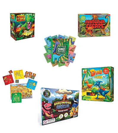 dinosaur board game image collage