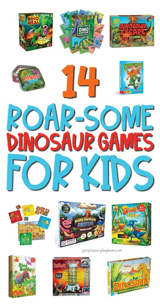 dinosaur board game image collage with the words 14 roar-some dinosaur games for kids in the middle