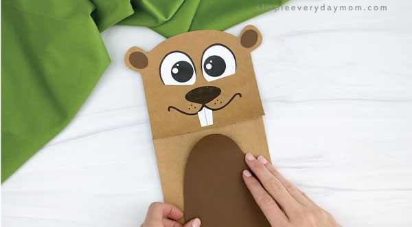 hands gluing belly to paper bag groundhog craft