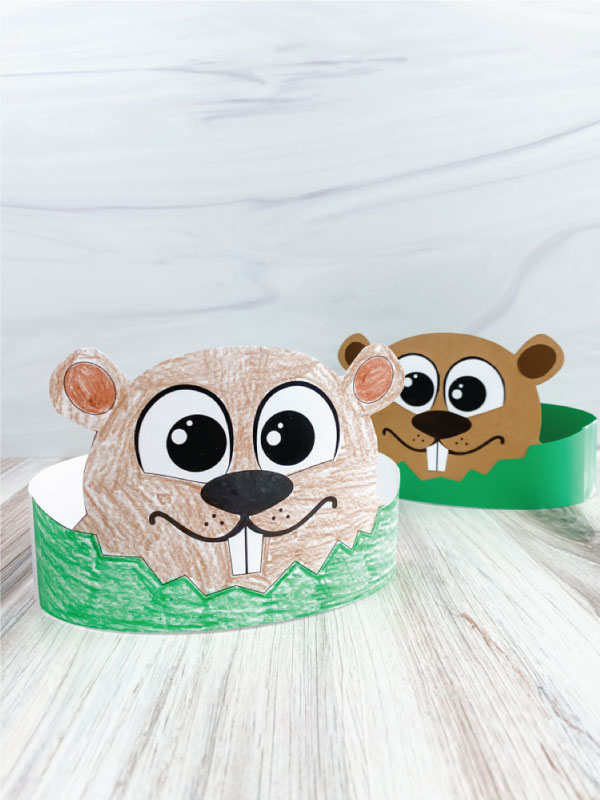 two groundhog headband crafts