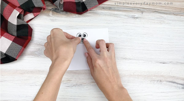 hands gluing nose to toilet paper roll polar bear craft