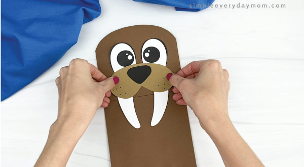 hand gluing mouth, nose, and tusks to paper bag walrus craft
