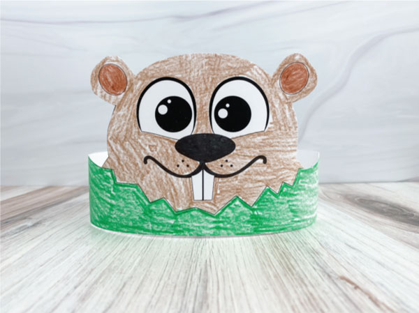 color in groundhog headband printable