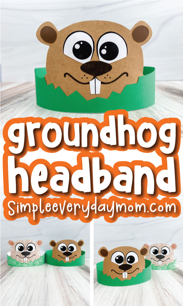 groundhog headband image collage with the words groundhog headband in the middle