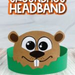 groundhog headband craft with the words groundhog headband at the top