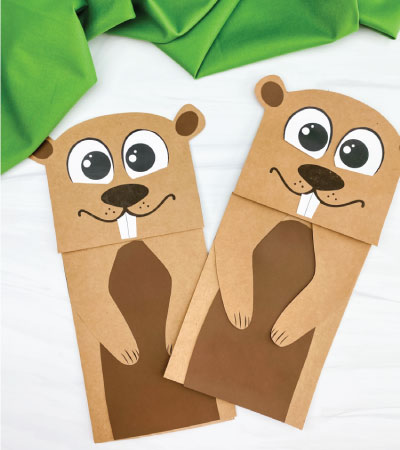 two paper bag groundhog crafts