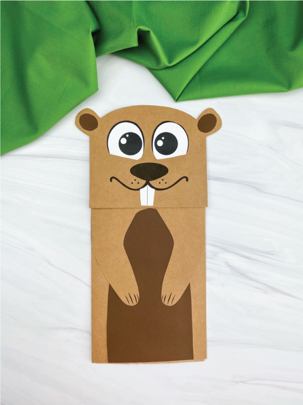 paper bag groundhog craft