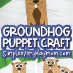 paper bag groundhog craft image collage with the words groundhog puppet craft in the middle