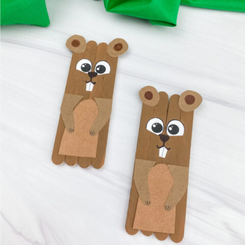 two popsicle stick groundhog crafts