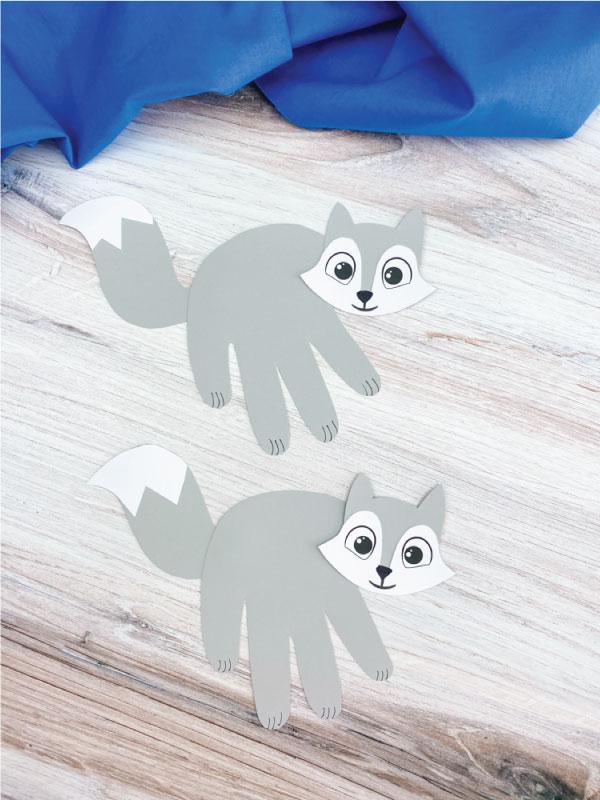 two handprint arctic fox crafts