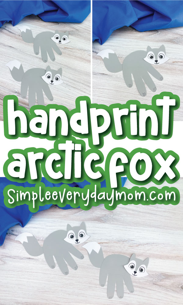 handprint arctic fox image collage with the words handprint arctic fox in the middle