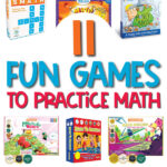 math board game image collage with the words 11 fun games to practice math