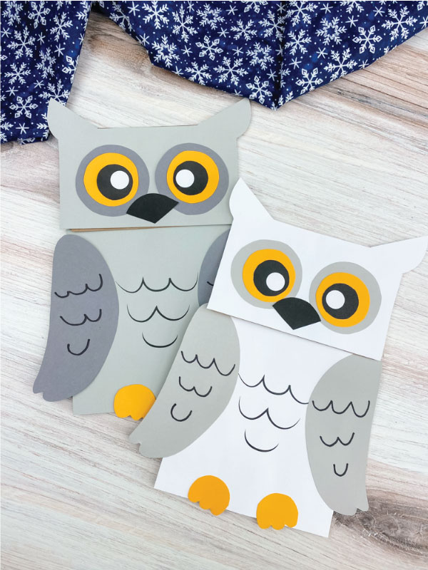 two paper bag owl crafts