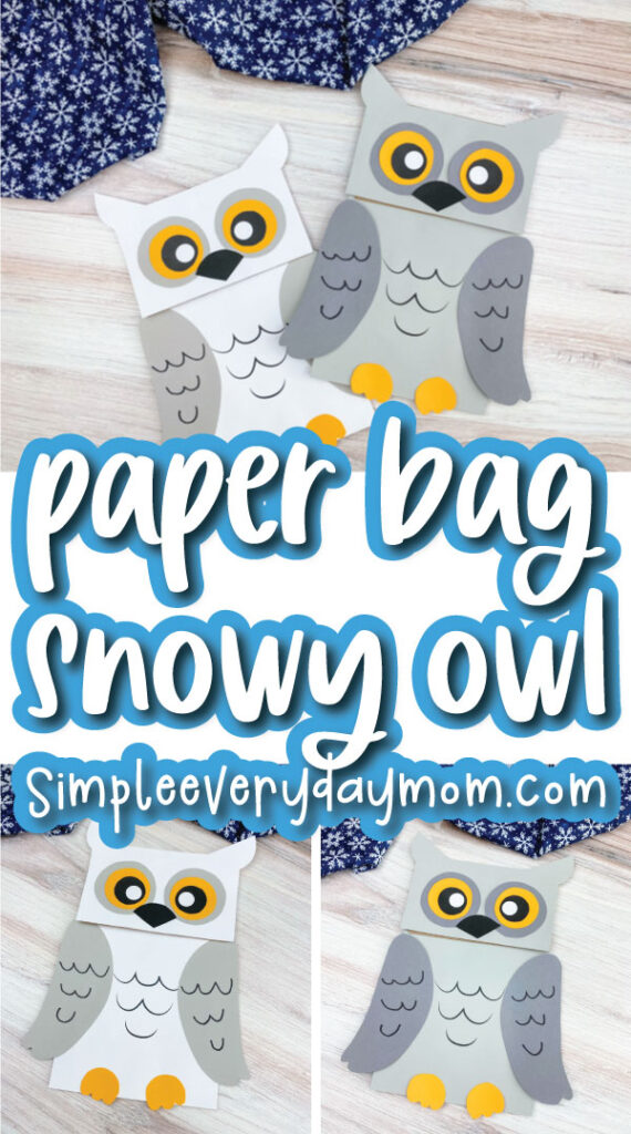 paper bag owl craft image collage with the words paper bag snowy owl in the middle