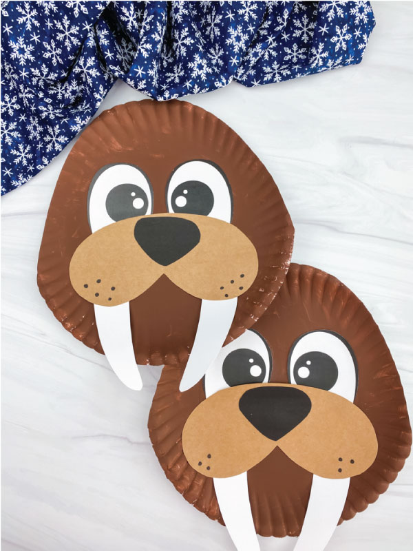 two paper plate walrus crafts