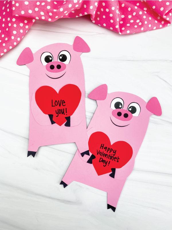 2 valentine pig crafts