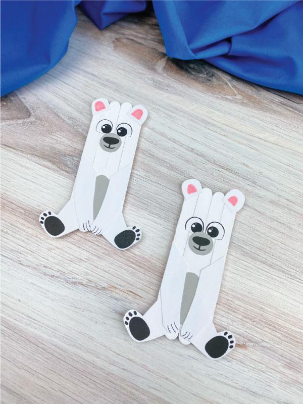 2 popsicle stick polar bear crafts