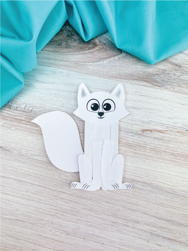 popsicle stick arctic fox craft