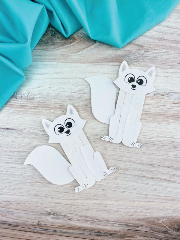 two popsicle stick arctic fox crafts