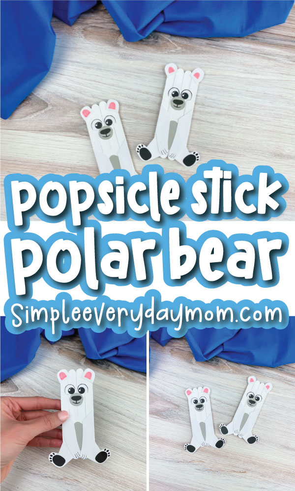 popsicle stick polar bear craft image collage with the words popsicle stick polar bear in the middle