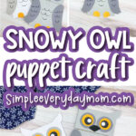 paper bag owl craft image collage with the words snowy owl puppet craft in the middle